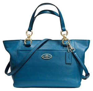 Coach Satchel in Denim/Light Gold