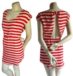 Glam short dress Red/white Striped Bold Stripe Retro on Tradesy