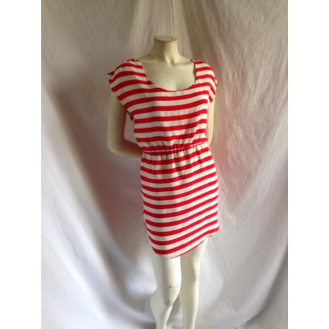 Glam short dress Red/white Striped Bold Stripe Retro Candy Striper Open Back Bow Bow Back Keyhole Short Sexy Cute Anthro Stripe Popover French on Tradesy