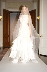 Oscar De La Renta Sz 8/10 Silk Taffeta 5001 Signature Ruffles Wedding Dress