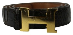 Hermès Hermes Crocodile Strap 24 MM Gold Buckle Belt HEJY28