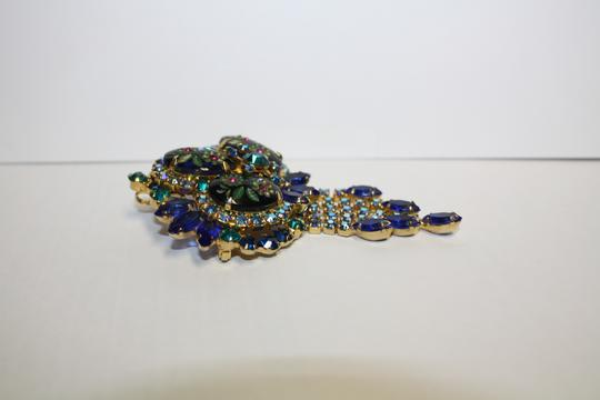 Juliana Collezione Juliana Vintage Dimensional Carved Flower Dangle Rhinestone Brooch Pendant Pin