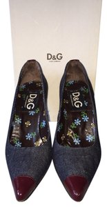 Dolce&Gabbana Blue denim with burgundy tips and heels Pumps