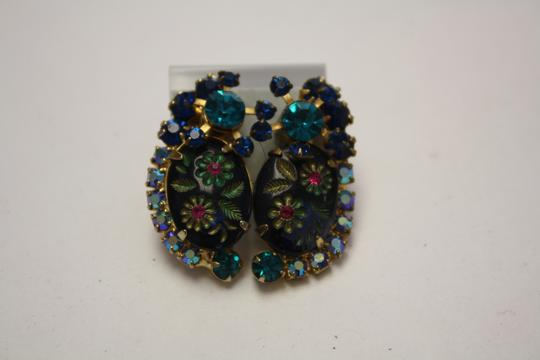 Juliana Collezione Juliana Vintage Dimensional Blue Teal Rhinestone Earrings