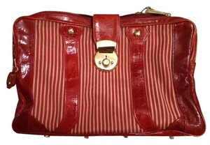 Rebecca Minkoff Stripes Unique Leather Cool Canvas RED Clutch