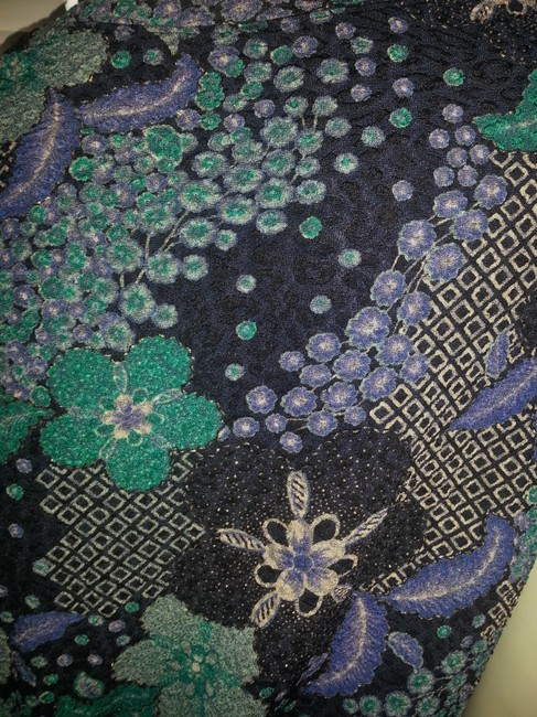 White Stag Top Purple, green, teal, beige on black with gold embellishments