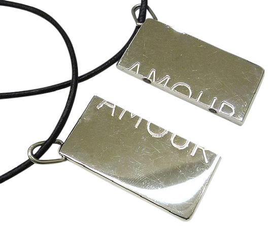 Hermès Authentic Hermes Leather and Silver Symbol Necklace