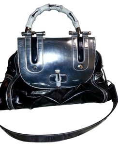 Gucci Bamboo Dialux Tote Silver Satchel in Black Silver