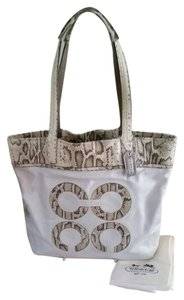 Coach Python Audrey Leather Large Tote in parchment