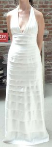 Ivory Satin Bcbg Haute Gown Pcs6g648-101 Modern Wedding Dress Size 8 (M)