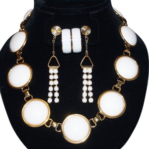 MONET Vintage Monet Chunky White Enamel Cabochon Necklace Earrings Set 2 Prs Earrings