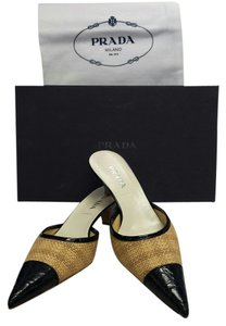 Prada Woven Embossed Leather Natural & Black Mules