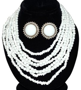 Vogue Eyewear Vintage Vogue Chunky White Milk Glass Torsade Bead Necklace Kofin Earrings Set