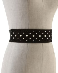 White House | Black Market Pearl Studded Stretch Belt