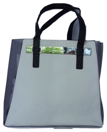 Vince Camuto Faux Leather Silver Hardware Logo Tote in Snow White Grey Combo