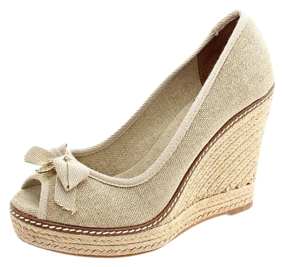c10c15be7e60 Tory Burch Gold Jackie Espadrille Wedges Size US 7.5 Regular (M