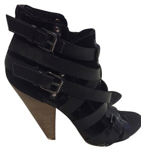 Nordstrom Trouve Leather Sandal Platform Buckle Moto Wood Heels Black Pumps