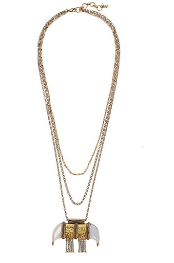 Lucky Brand Lucky Brand Tusk Horn Shape Hammered Pendant Layered Necklace