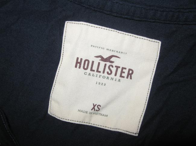 Hollister Womens Beads Embroidered Short Sleeve Shirt Xs Top Navy Blue