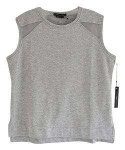 BCBGMAXAZRIA Sporty Mesh Cutouts Normcore Top Grey, Gray