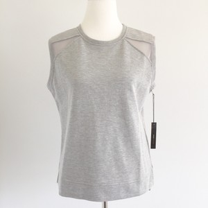 BCBGMAXAZRIA Sporty Mesh Cutouts Normcore Basic Bcbg Top Grey, Gray