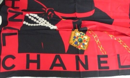 Chanel IVAN Chanel Red Silk Coco Scarf Wrap Black 167008 CCZZ26