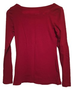 Banana Republic Br Blouse Shirt Cotton Longsleeve Long Sleeve J Crew Basic Basics Everyday Weekend Casual T Shirt Red