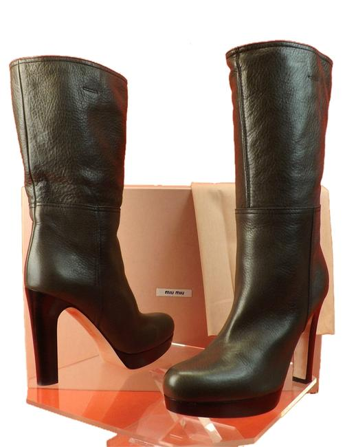 Item - Gray Leather Mid Calf Slouch Platform Boots/Booties Size EU 40 (Approx. US 10) Regular (M, B)