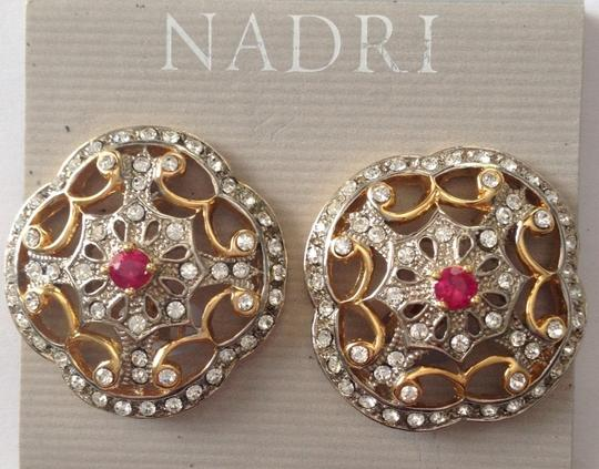 Nadri Faux Ruby Crystal Clip On
