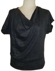 NY Collection Top CHARCOAL W SILVER