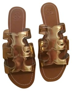 Tory Burch Flat Metallic Gold Sandals
