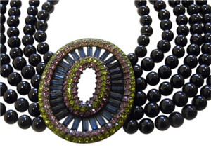Heidi Daus Heidi Daus Art Deco Style 6 Strand Crystal Black Beaded Necklace 15