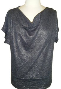 New York & Company Top SZ PS CHARCOAL W METALLIC THREADS