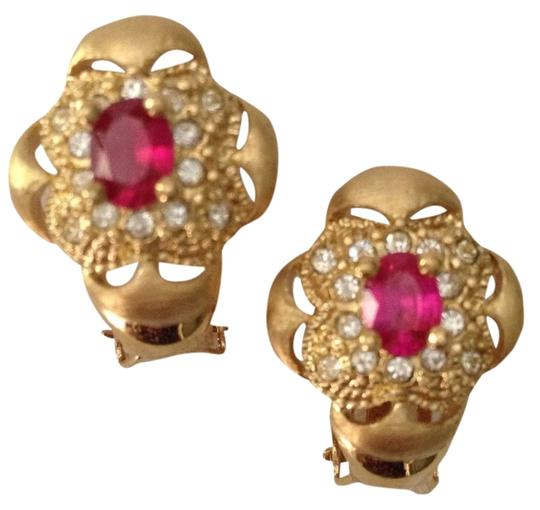 Nadri Faux Ruby 18karat GF Clip On