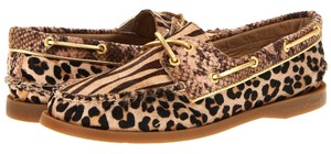 Sperry Top-sider A/O Boat Calf Hair 2 Eye 2 Eye Boat Animal Print 360 Lacing Loafer Slip On Women's Size 5 Size 5 5 M Brown Multi Flats