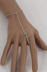 Other Women Silver Fashion Metal Cross Charm Thin Hand Chain Bracelet Slave Ring