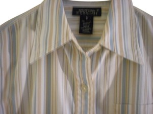 Jones New York Top white/blue/tan stripe