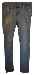 H&M Distressed Ripped Denim Skinny Jeans-Distressed