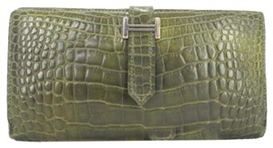 Hermès SOLD OUT Crocodile Green Bearn Wallet Bi Fold 166995 HTL53
