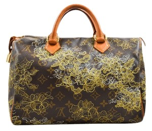 Louis Vuitton Speedy 30 Satchel in Brown and Gold /Satchel Embroidered / FREE same day ship /