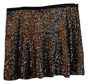 Express Glitter Glittery Sequin Sequined Skater Skater Mini Short Leather Leather Trim Black Leather Side Zip Holiday Party Mini Skirt Gold