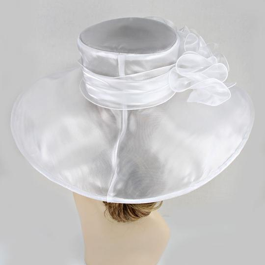 Other FASHIONISTA White Organza Wide Brim Crystal Accent Derby Bridal Wedding Beach Sun Cruise Summer Large Fancy Floppy Hat