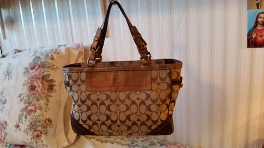 Coach Satchel in Brown and Tan