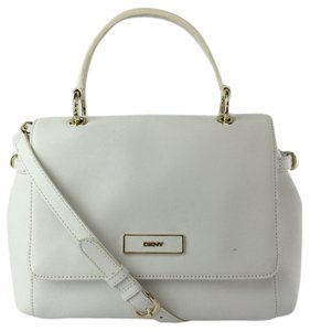 DKNY Saffiano Leather Shoulder Satchel in White