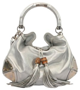 97b7b8d0983 Gucci Indy Bamboo Tassel Metallic Silver Leather Hobo Bag - Tradesy