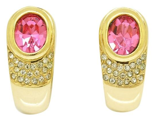 Dior Christian Dior PINK Oval Sapphire Rhinestone Clip Earrings