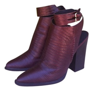 Alexander Wang Leather Crocodile Edgy Cool Mahogany Boots