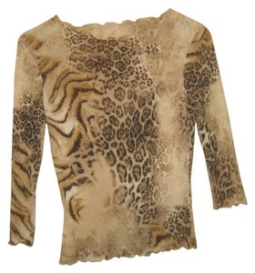 Feelgood Paris Animal Print Leopard Tiger Longsleeve T Shirt Brown