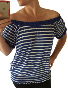 INC International Concepts Off The Shoulder Strapless Top Blue and White