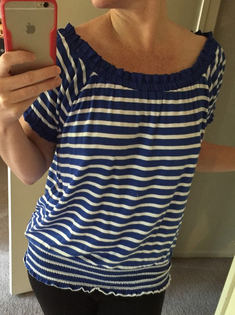 INC International Concepts Off The Shoulder Strapless Nautical Top Blue and White